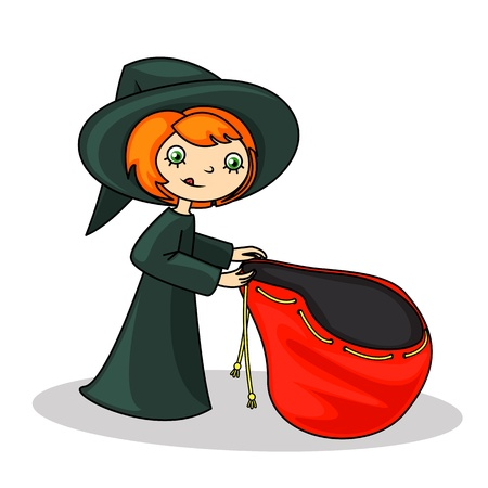 sweet painted girl in witch costume, collecting candy on Halloween Illustration