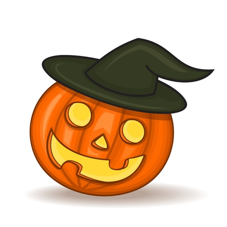 painted pumpkin jack with a witch hat for Halloween on a white background Stock Vector - 21423808