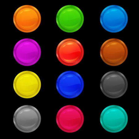 set of bright chrome-plated metal realistic green buttons for an interface