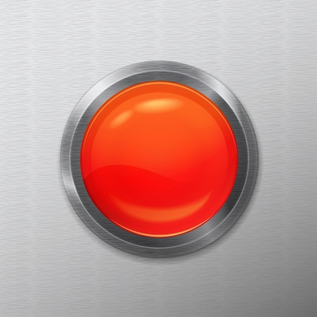 bright chrome realistic red button interface on a metal background Stock Vector - 21423819