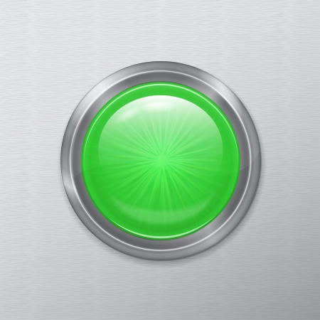 bright chrome realistic green button interface on a metal background Stock Vector - 21423827