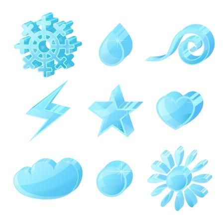 Glass volume icon symbol set on a white background