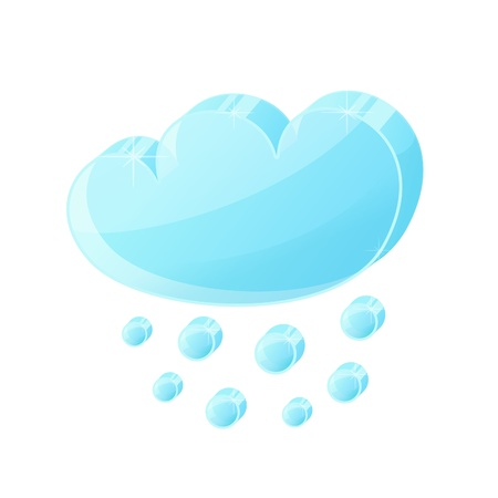 hail: Glass volumetric cloud icon with hail, weather symbol