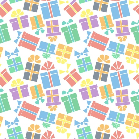 birthday presents: seamless pattern of colorful gift boxes with bow and ribbon