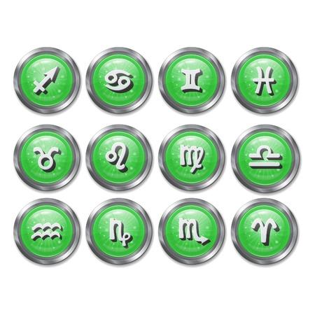 twelve: set of twelve icon buttons zodiac horoscope
