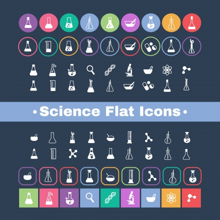 a set of plane icons with symbols of science and medicine Stock Vector - 23206924