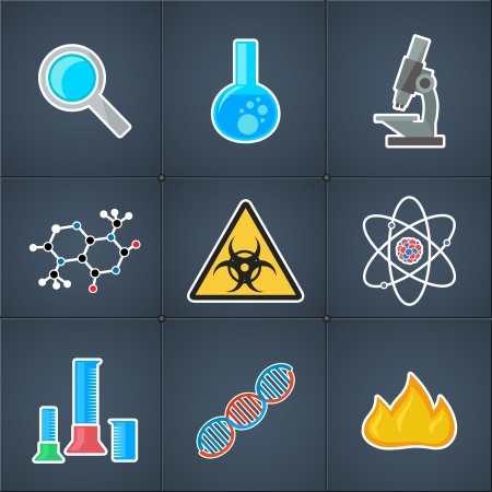 biological hazards: set of icons with symbols of science and medicine