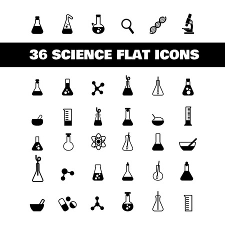 a set of plane icons with symbols of science and medicine Stock Vector - 23206926