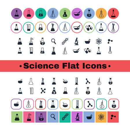 PROTON: a set of plane icons with symbols of science and medicine