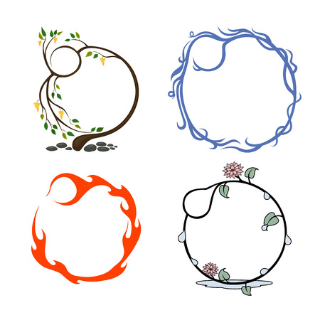 set of frames that represent the elements, air, earth, water, fire Stock Vector - 23207047