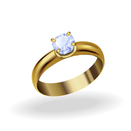 gold ring: realistic gold ring with a precious stone, topaz