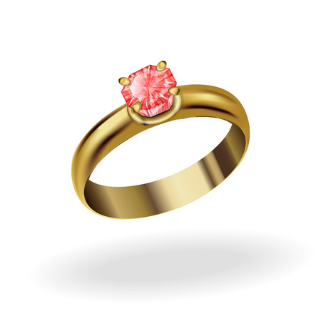 ruby stone: realistic gold ring with a precious stone, ruby