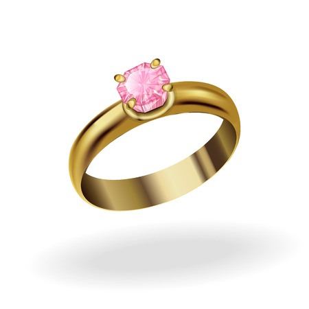 realistic gold ring with a precious stone