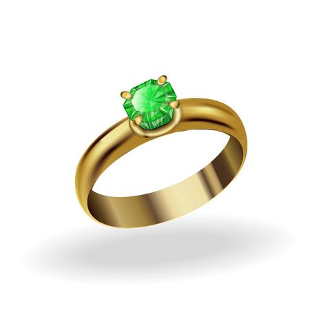 emerald stone: realistic gold ring with a precious stone, emerald
