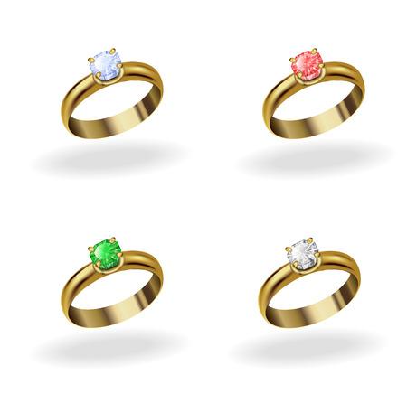 ruby stone: set realistic gold ring with a precious stone, emerald, ruby, topaz, diamond