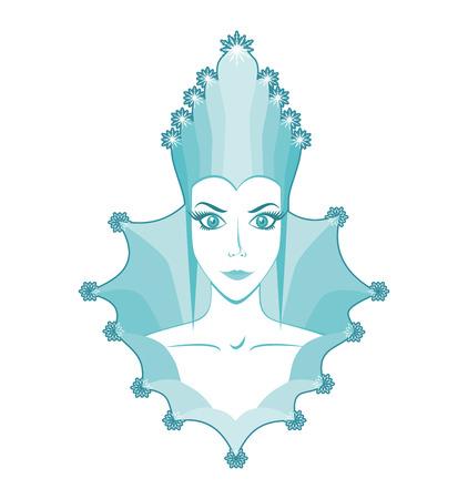 Portrait of snow queen, cartoon woman, emblem snow queen
