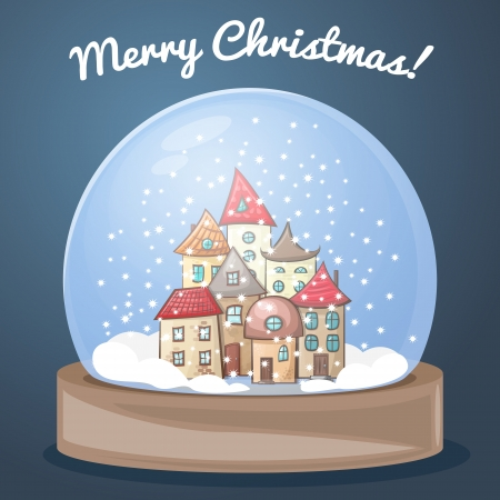 snow globe, snow-covered town house in the snow, greeting the new year, a house in snow globe Vector