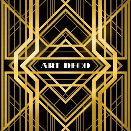 kunst: Art-Deco-Kühlergrill, metallic abstrakte, geometrische Muster in der Art-Deco-Stil Illustration