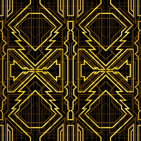 art deco grille, metallic abstract, geometric pattern in the art deco style, seamless pattern Vector
