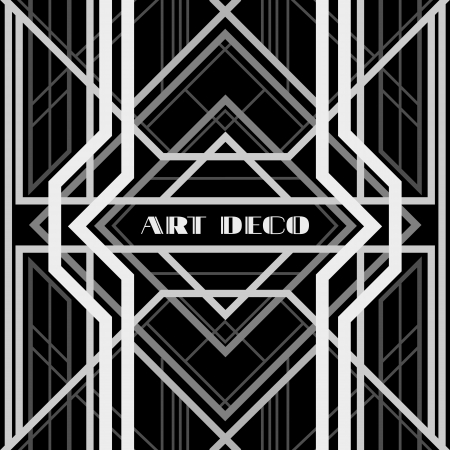 art deco border: art deco grille, metallic abstract, geometric pattern in the art deco style