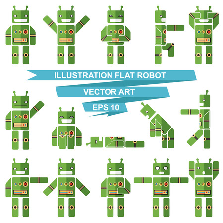 flat robots, robots set with different emotions and poses, cartoon style Vector