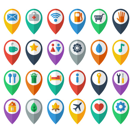 navigation icons, set of flat icons depicting objects, modern icon Vector