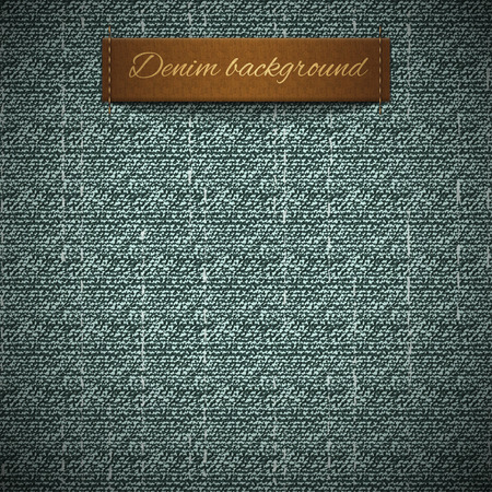 Realistic denim, seamless pattern, leather band for the text in the form of a label, rough texture