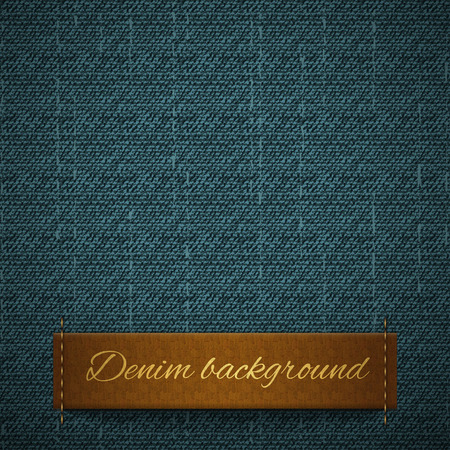 Realistic denim, seamless pattern, leather band for the text in the form of a label, rough texture Vector