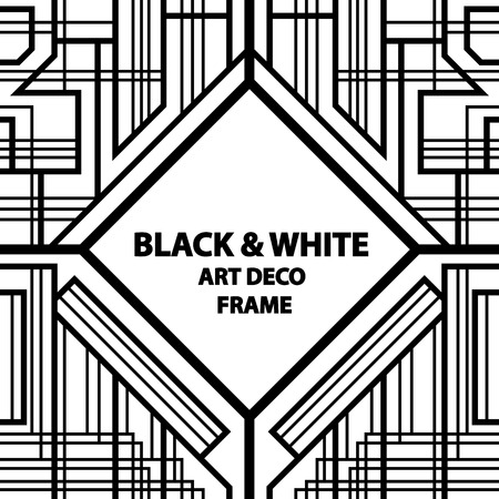 seamless pattern, geometric pattern, art deco with intertwined stripes, black and white Illustration