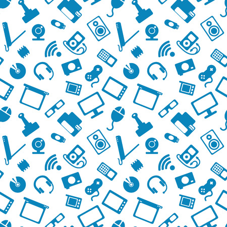 electronic: seamless pattern with electronics, computer hardware and white icons on blue background