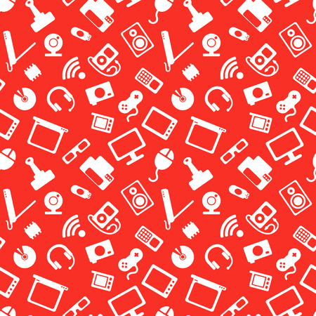 seamless pattern with electronics, computer hardware and white icons on red background