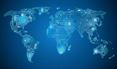 파란색 배경에 전자 시스템, 가젯을 사용하여 세계 어디서나 여행, 흰색 테두리 세계지도 기술 스타일 디지털 세상