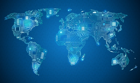 World map technology style digital world with electronic systems, traveling anywhere in the world using the gadget, white border on a blue background