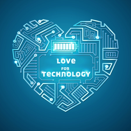 technological background, the heart of the wires on a blue background, illuminated circuitry pattern in the form of heart with battery Vector