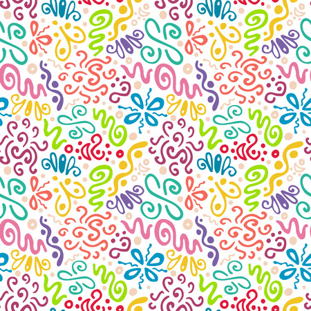seamless pattern, abstract floral pattern, color doodle