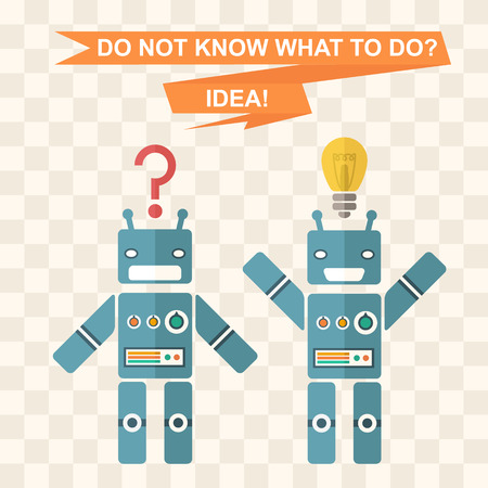 flat robots background symbolizes the idea, inspiration, finding ideas, the answer to the question