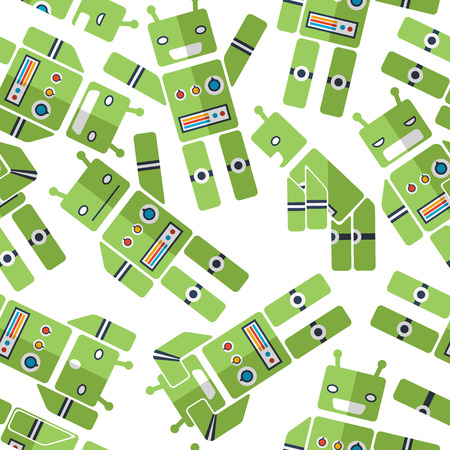 seamless pattern with robots, slim design meshnaya cartoon kids background Vector