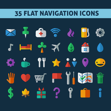 navigation icons, set of flat icons depicting objects, modern icon Illustration