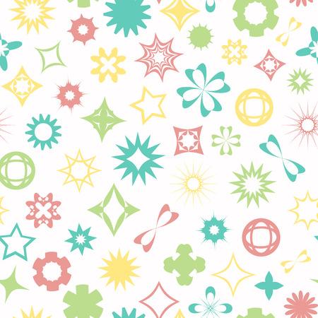 seamless pattern, geometric pattern with flower, star and diamond