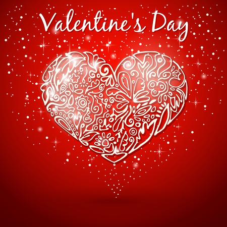 flickering: coraz�n blanco, dibujado a mano, patr�n de flores, remolinos, hojas, el parpadeo de fondo rojo con destellos en el D�a de San Valent�n Vectores