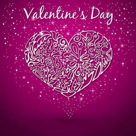 white heart, drawn by hand, flower pattern, swirls, leaves, flickering background with sparkles on Valentines Day