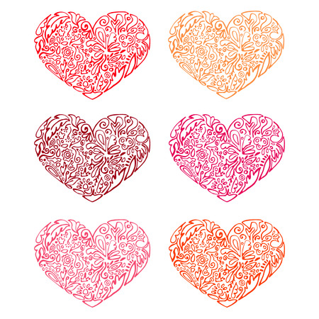 set of hearts, floral pattern, floral design, circuit Vector