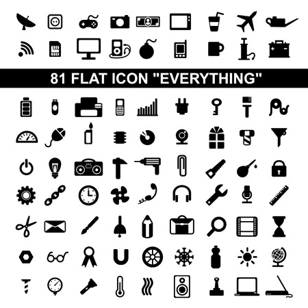 oilcan: set everything flat icons, stationery, weather, office, school, physics, science, technology, tool, construction, electronics, media Illustration