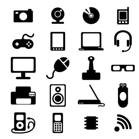 flat icons set of media, computers, electronics, musical equipment, cinema equipment Vector