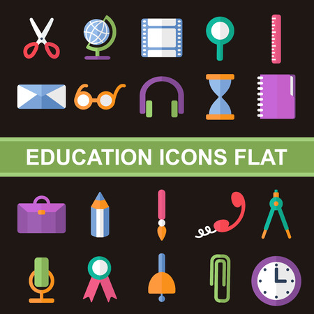flat icons, set education, stationery, office, school Illustration