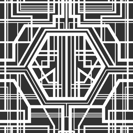 seamless pattern, geometric pattern, art deco with intertwined stripes, black and white Ilustração