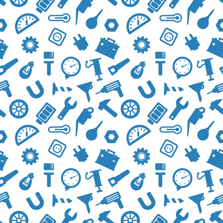 seamless pattern with tools, carpentry tools blue icons on white background