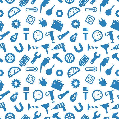 herramientas carpinteria: sin patr�n, con las herramientas, herramientas de carpinter�a iconos azules sobre fondo blanco Vectores