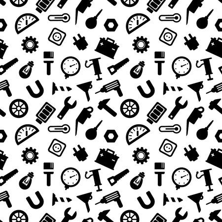 herramientas carpinteria: sin patr�n, con las herramientas, herramientas de carpinter�a iconos negros sobre fondo blanco