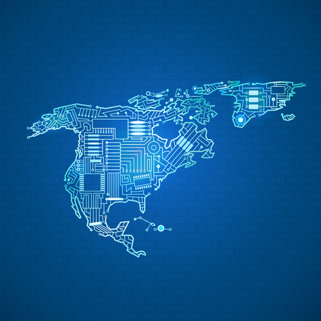 contour mainland North America in the technological style with intertwining cables, computer board, on a blue background Illustration